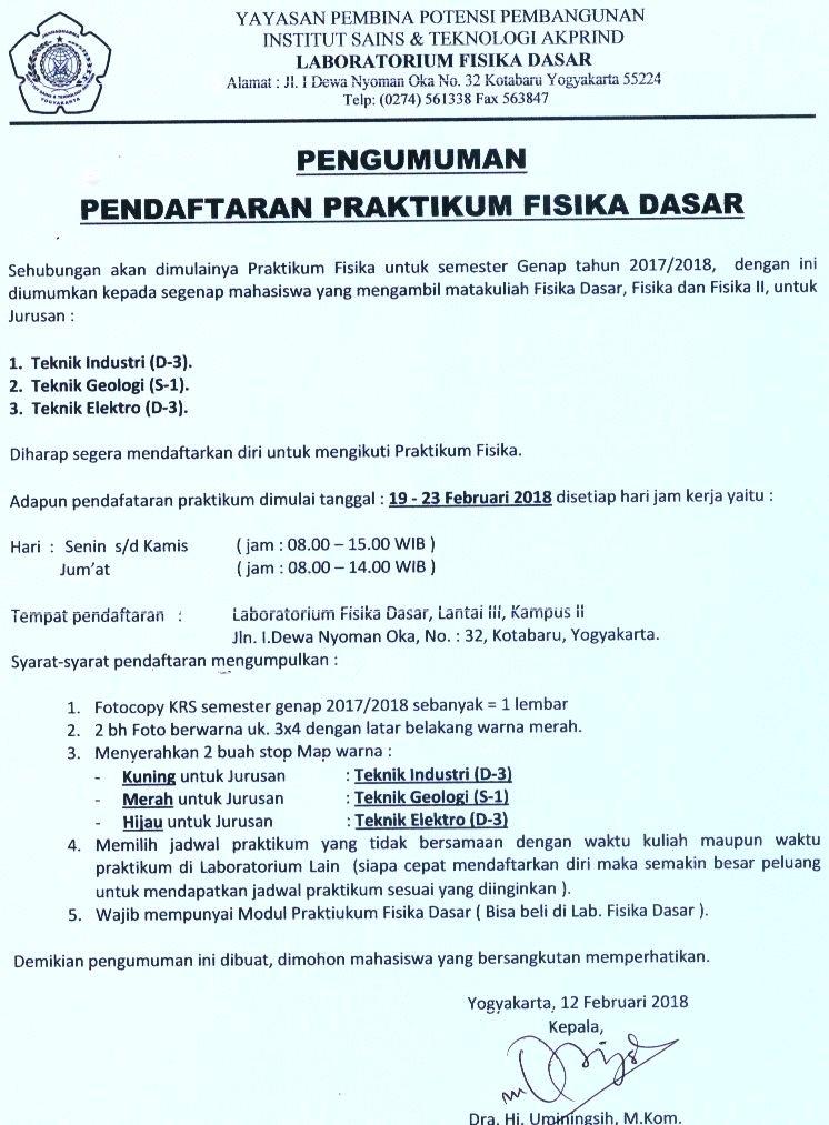 Pendaftaran Praktikum Fisika Dasar d3 di Jurusan Teknik Industri AKPRIND
