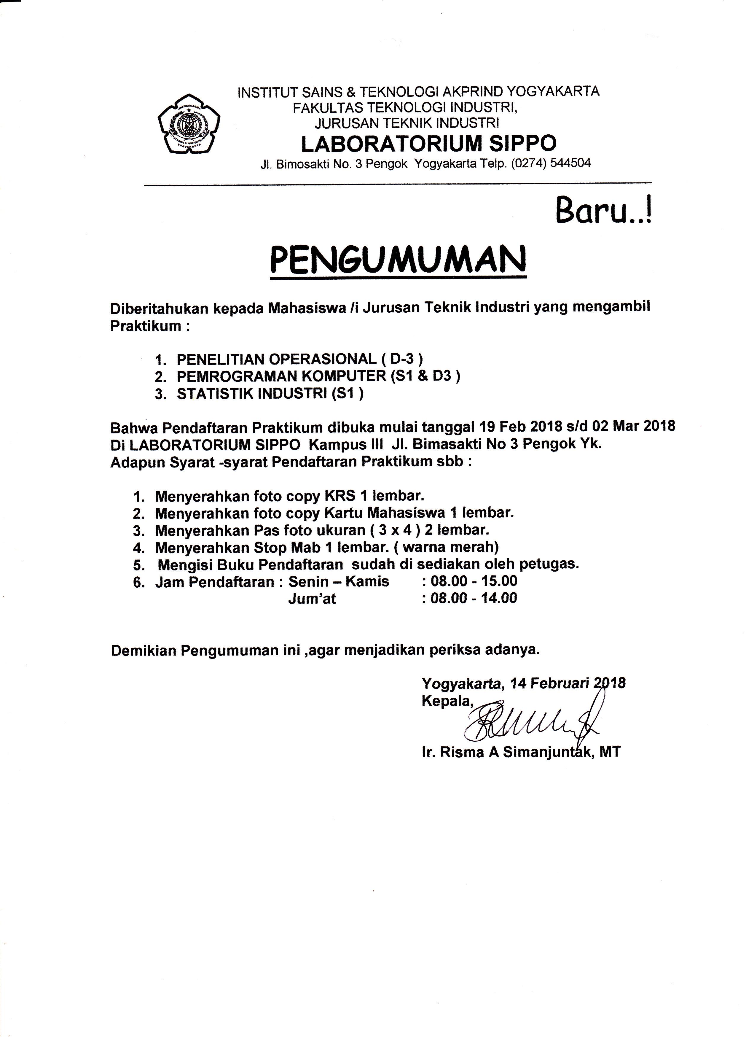 Pendaftaran Praktikum di Laboratorium SIPPO Jurusan Teknik Industri IST AKPRIND Yogyakarta
