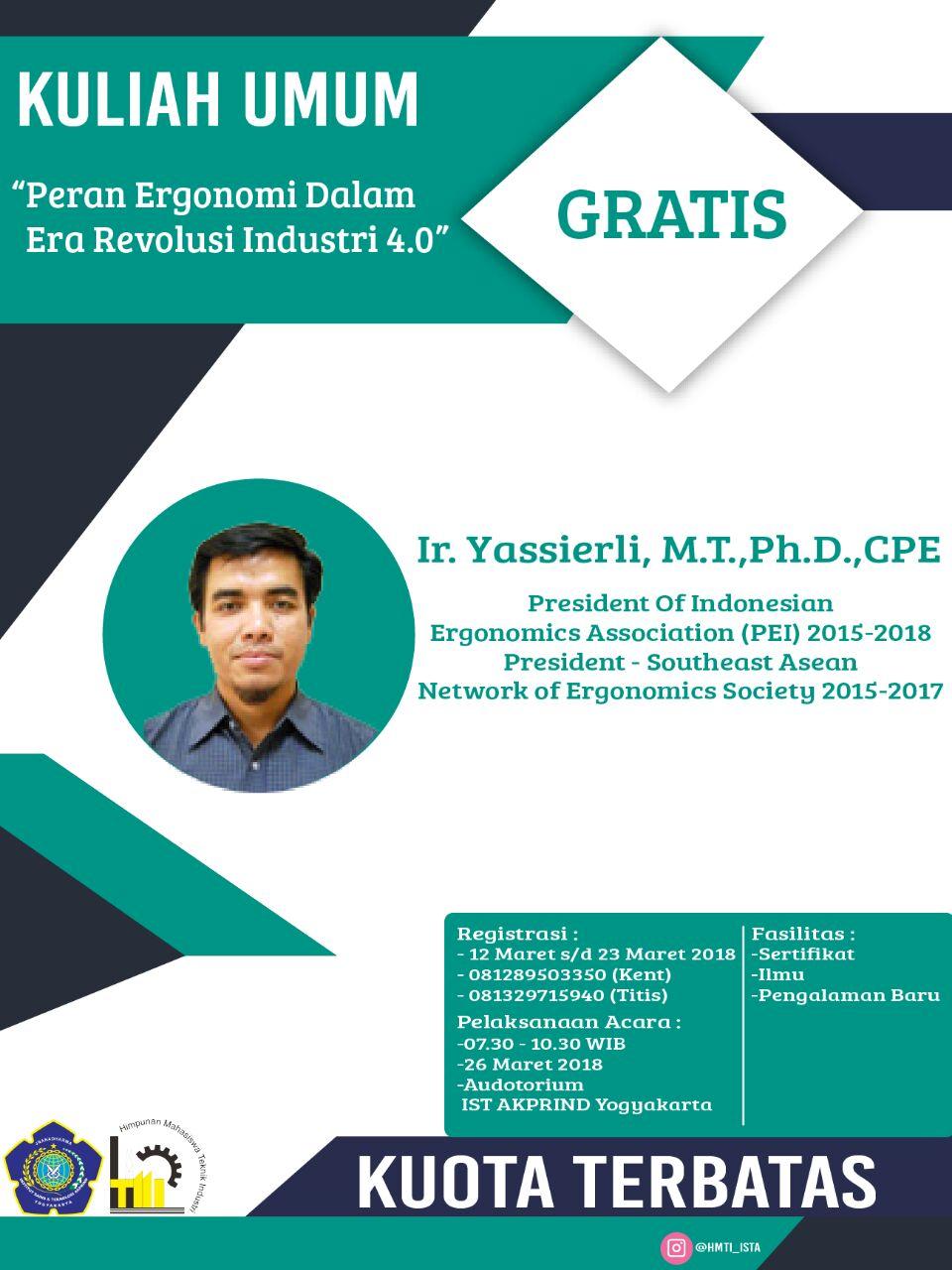 Hadirilah Kuliah Umum Ergonomi Bersama President of Indonesian Ergonomics Association!