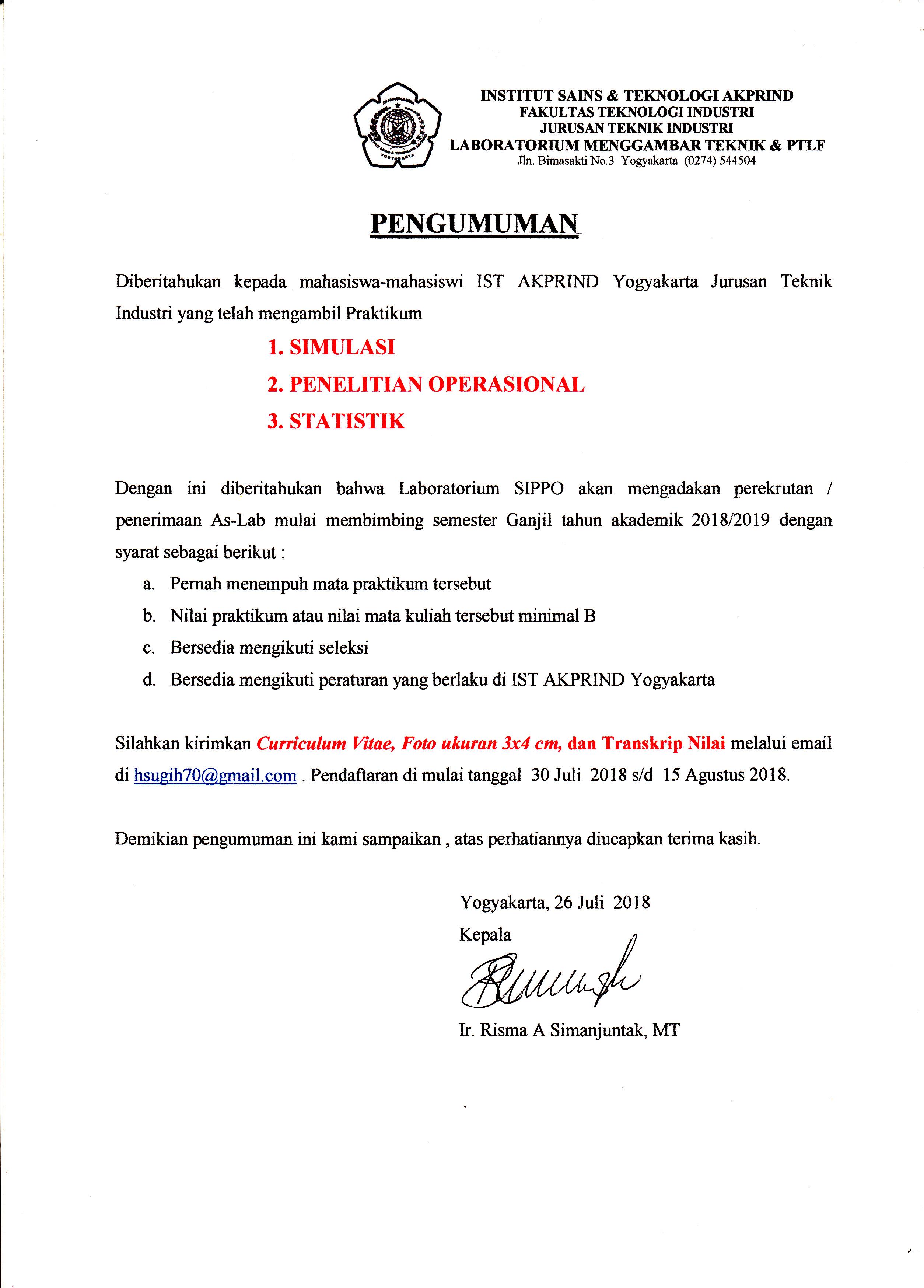 Pendaftaran aslab sippo semester Ganjil 2018/2019 Teknik Industri IST AKPRIND Yogyakarta