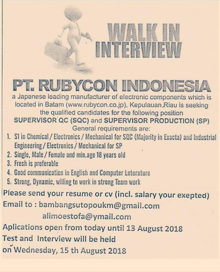 Lowongan PT Rubycon Indonesia