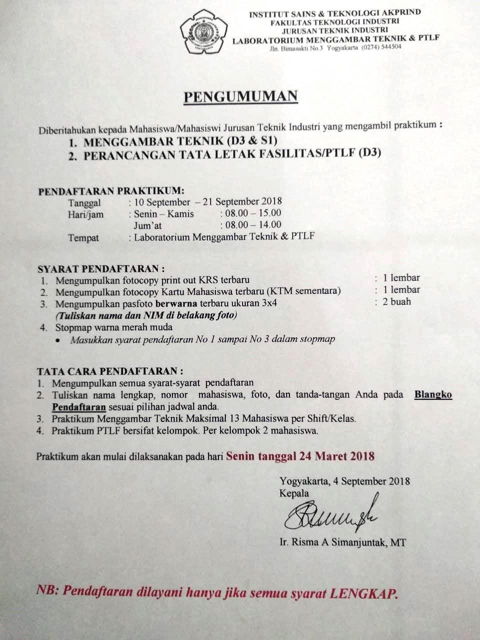 Pendaftaran praktikum gamtek ptlf sem ganjil 2018-2019