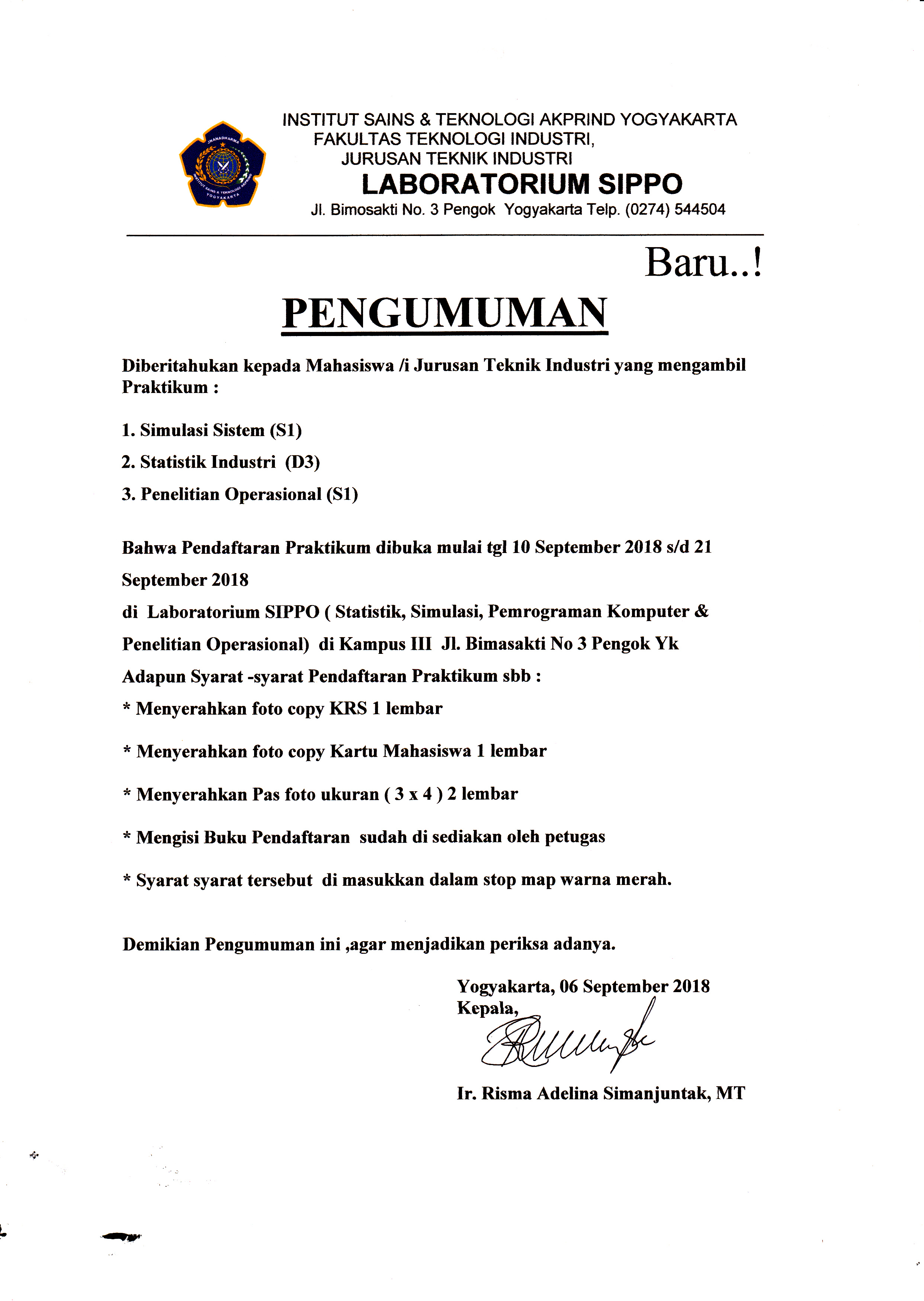 pendaftaran praktikum sippo sem ganjil 2018-2019 Jurusan Teknik Industri IST AKPRIND Yogyakarta