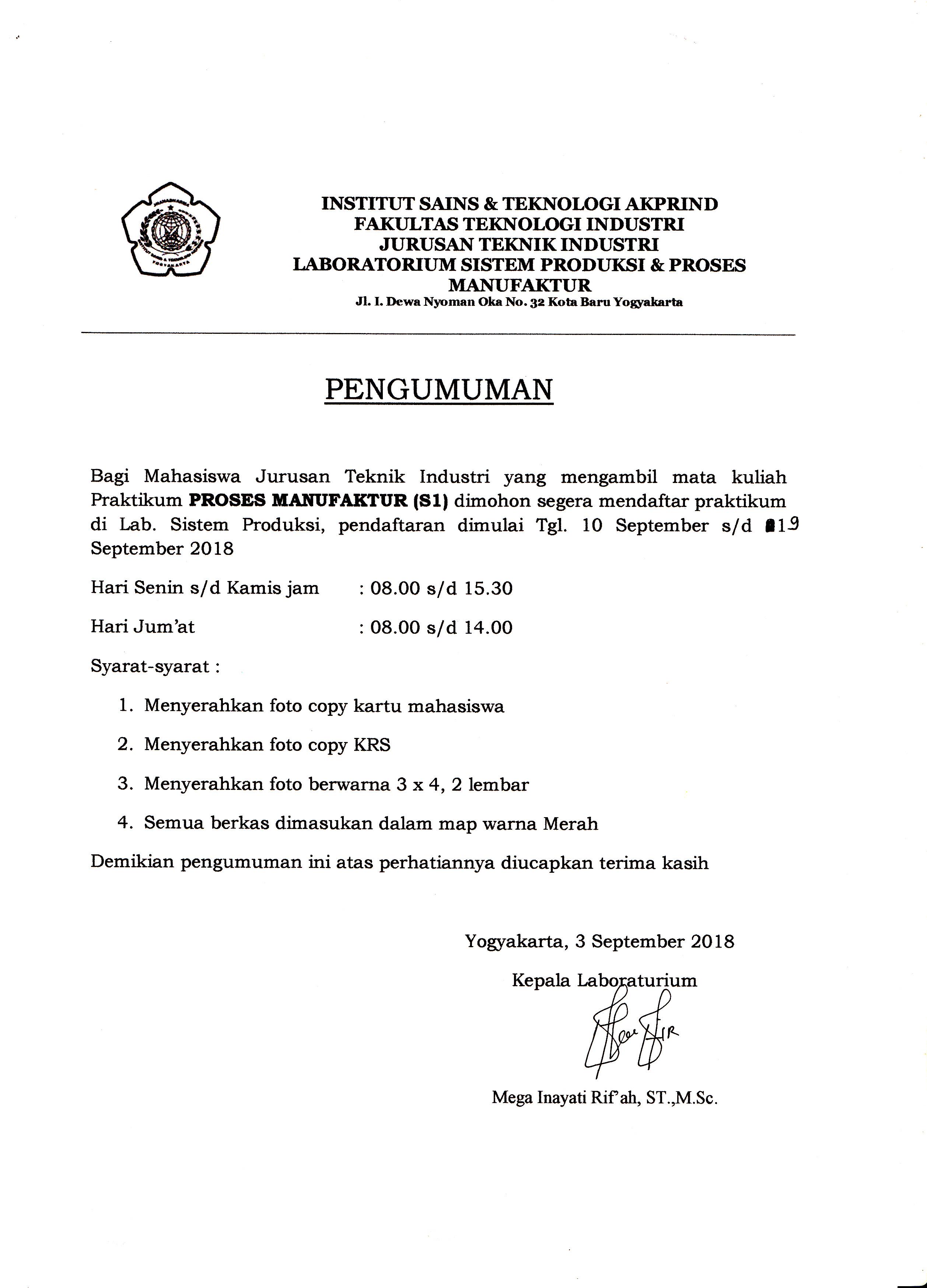 pendaftaran proses manufaktur S1 sem ganjil 2018-2019