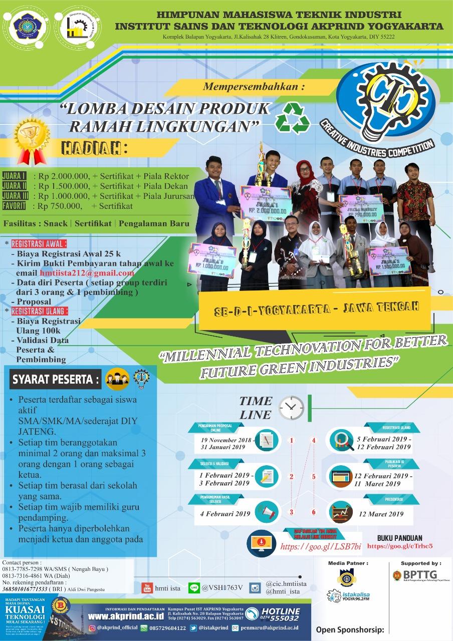 "Ikutilah Creative Industries Competition 2019 ""Lomba Desain Produk Ramah Lingkungan Se-DIY JATENG"""