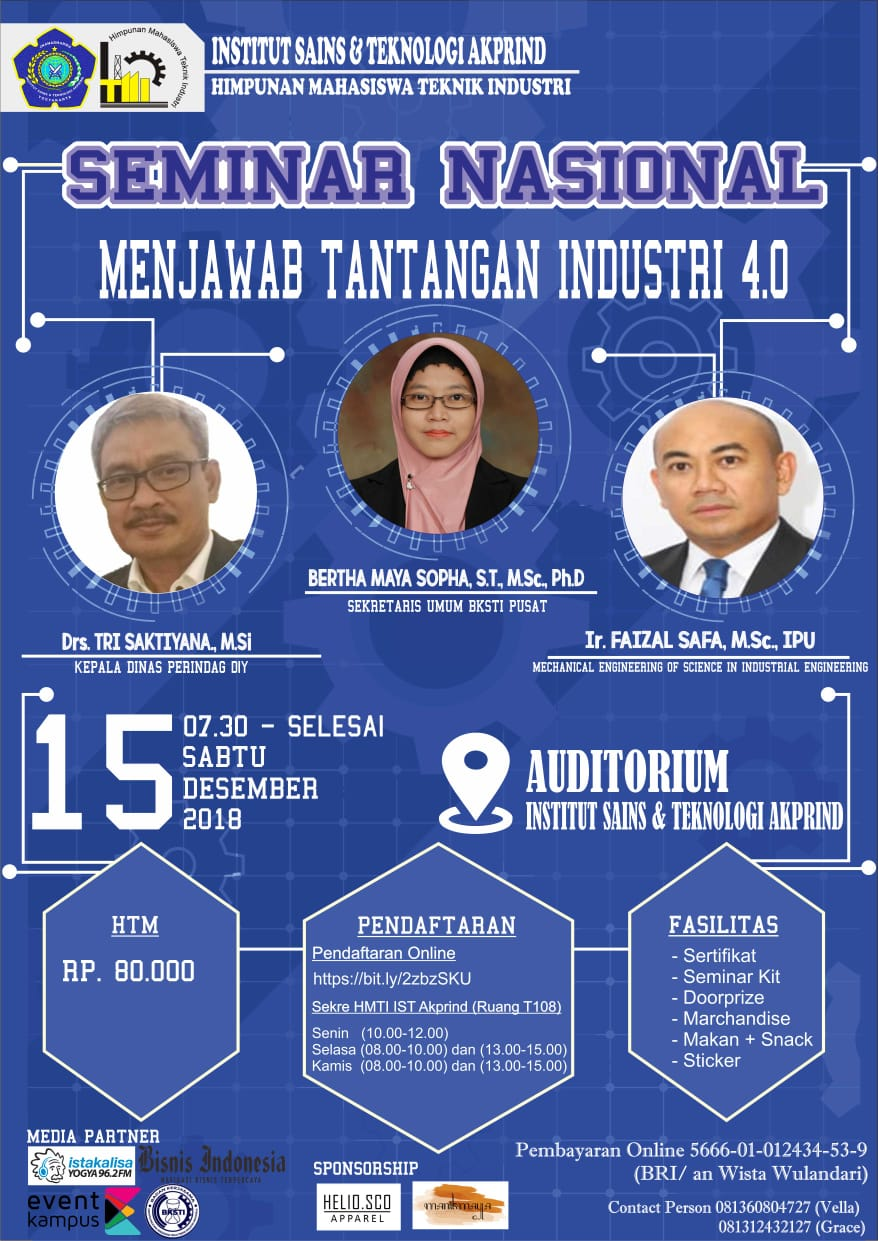 Seminar Nasional menjawab tantangan industri 4.0 IST AKPRIND Yogyakarta