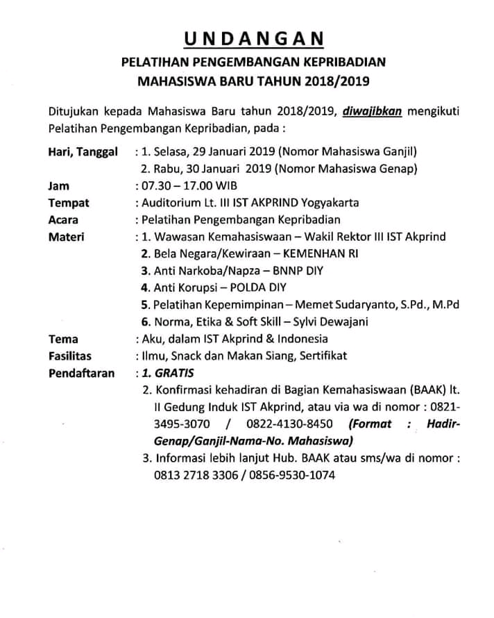 rincian pelatihan pengembangan kepribadian maba 2018-2019 ist akprind yk