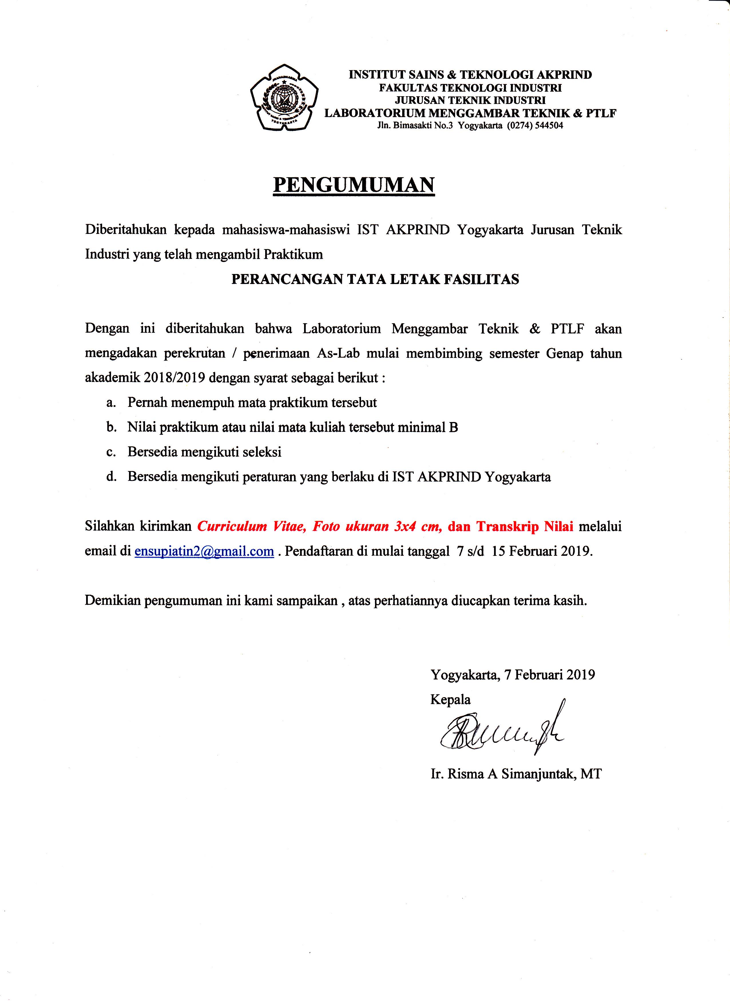 Pengumuman Pendaftara Asisten Lab PTLF Genap 2018-2019