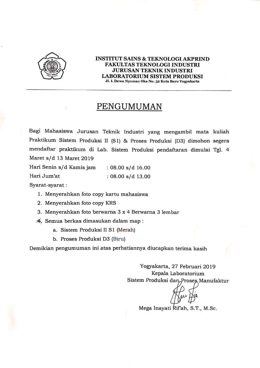 Pendaftaran Praktikum Lab sispro sem genap 2018-2019