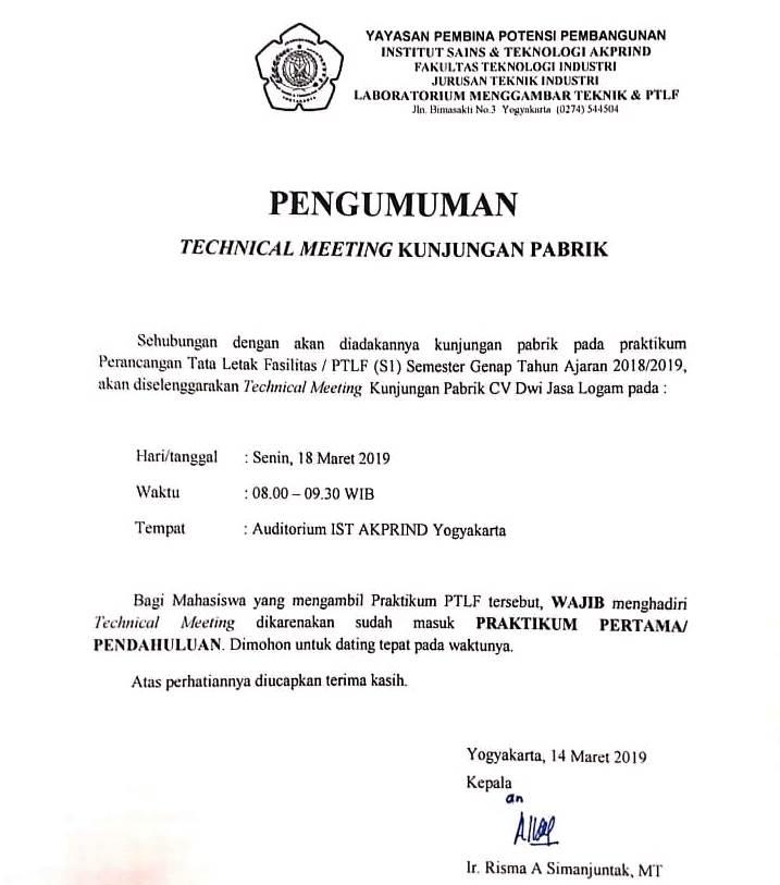 Pengumuman technical meeting PTLF CV Dwi jasa Logam
