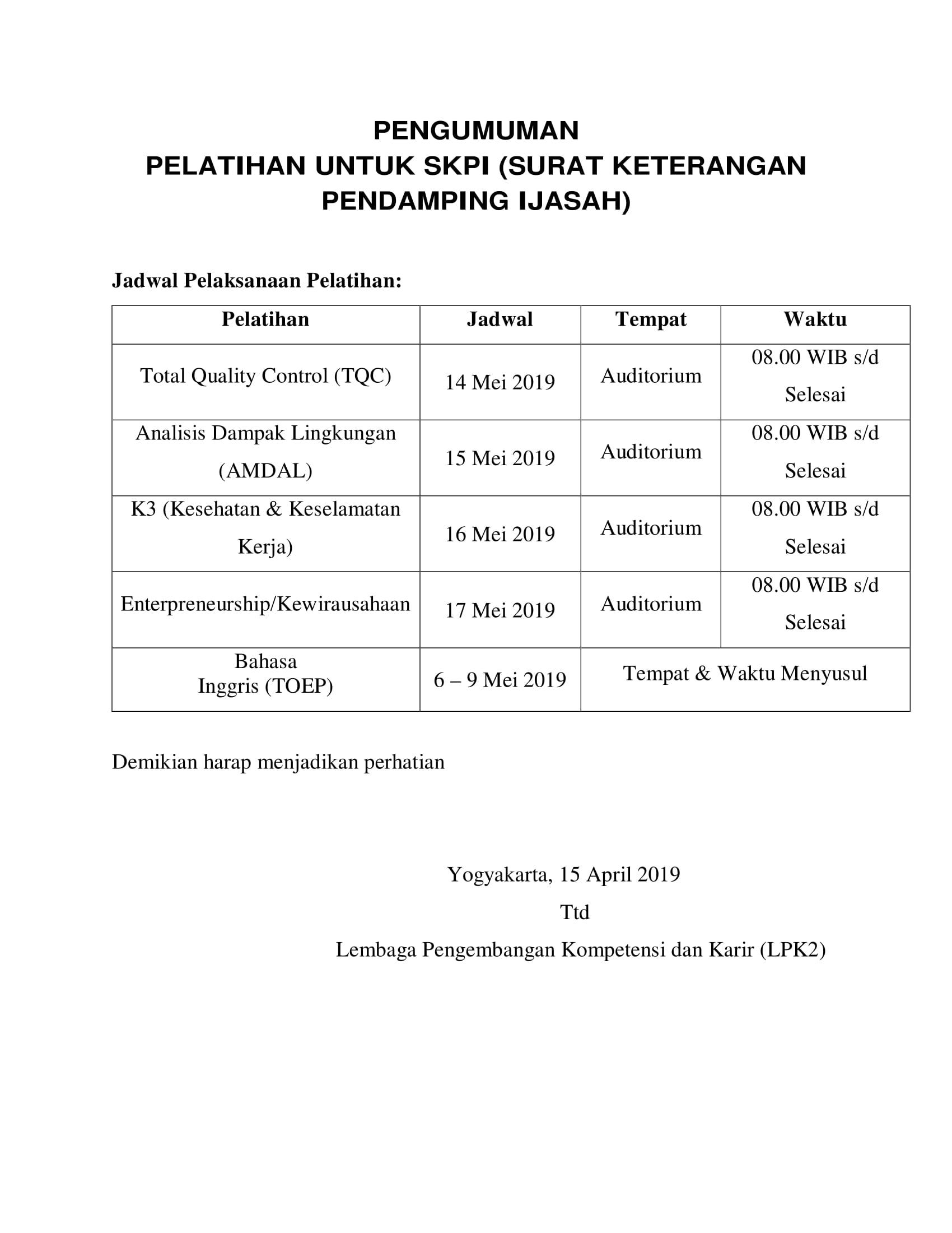 Perubahan Jadwal Pelaksanaan SKPI 2019