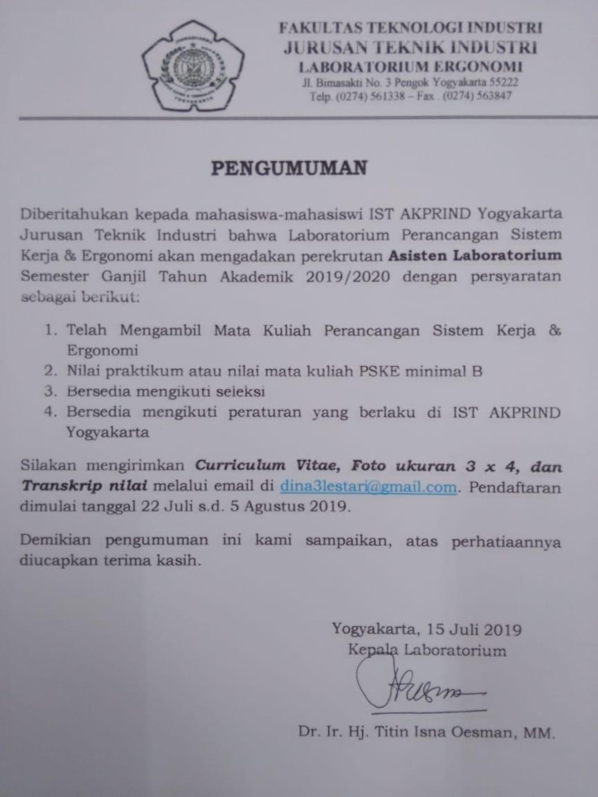 Pendaftaran Asisten Laboratorium Ergonomi