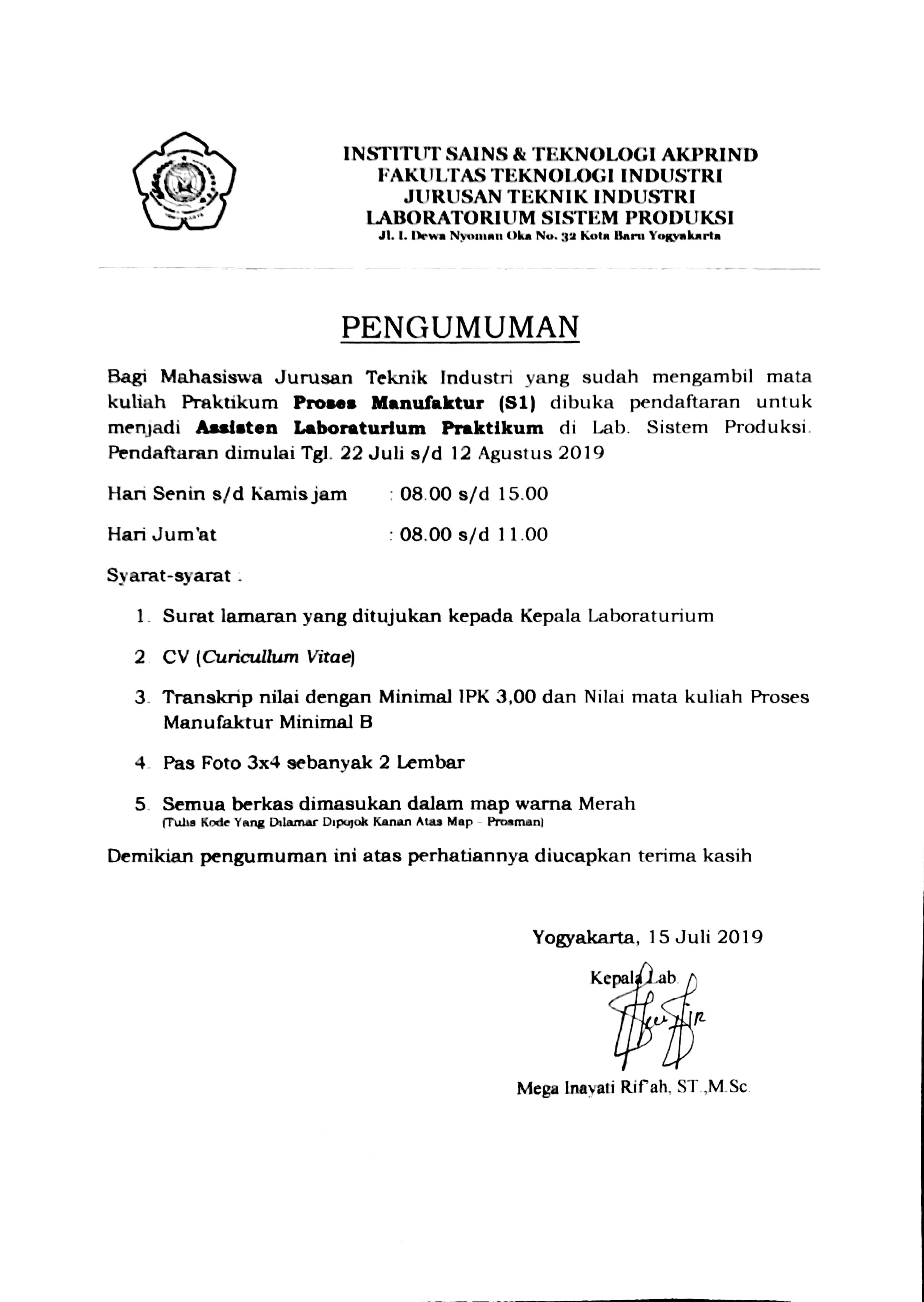 Pendaftaran Asisten Pembimbing Praktikum Proses Manufaktur