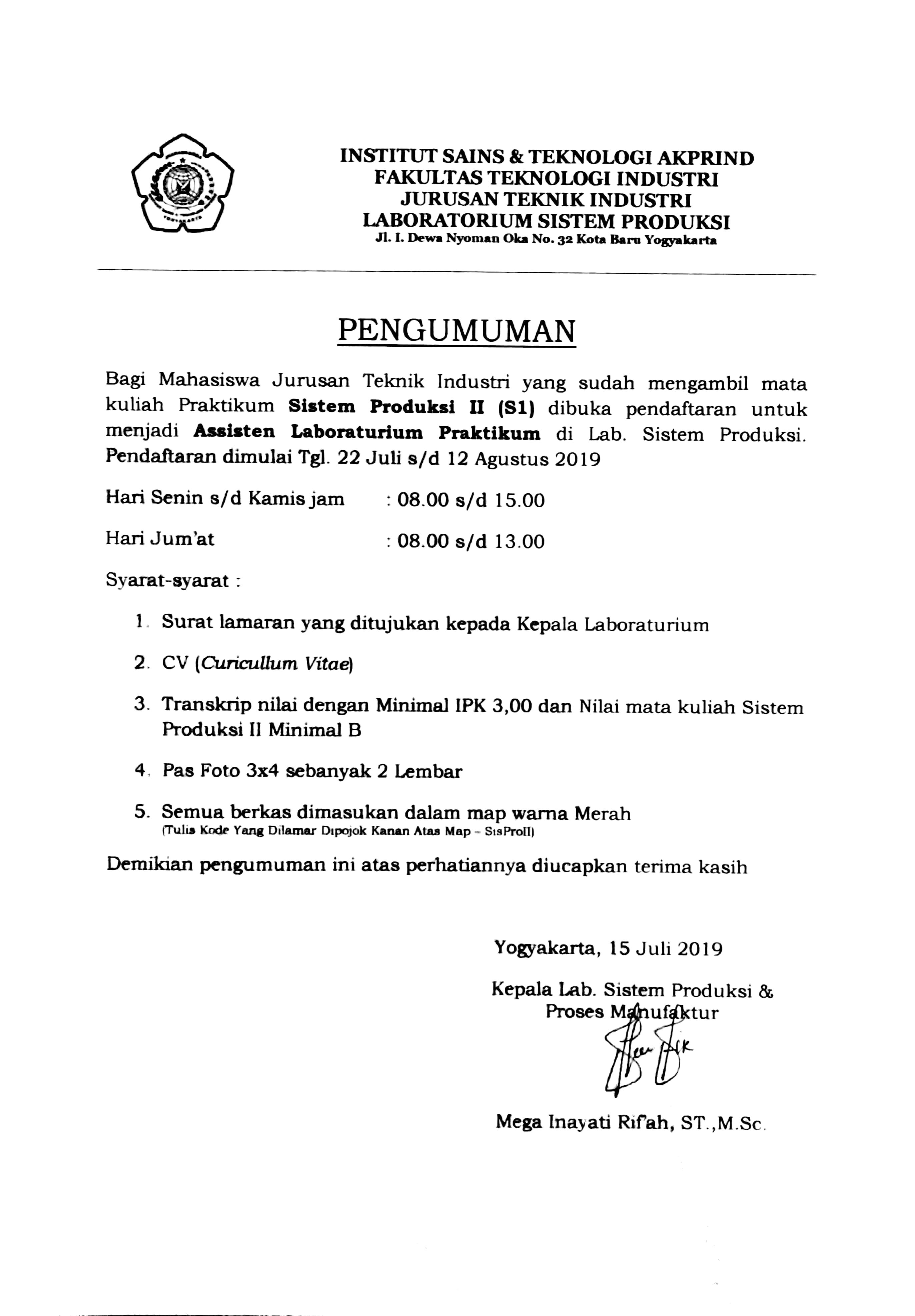 Pengumuman Pendaftaran Aslab SISPRO II