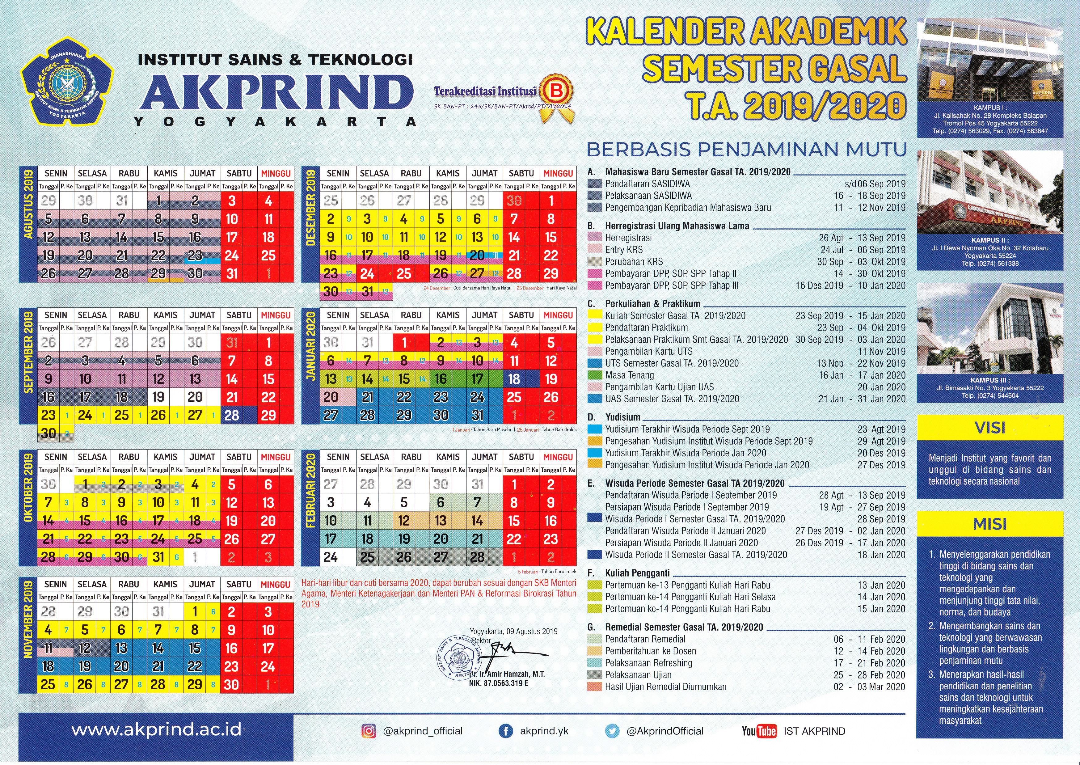 kalender akademik gasal 2019-2020