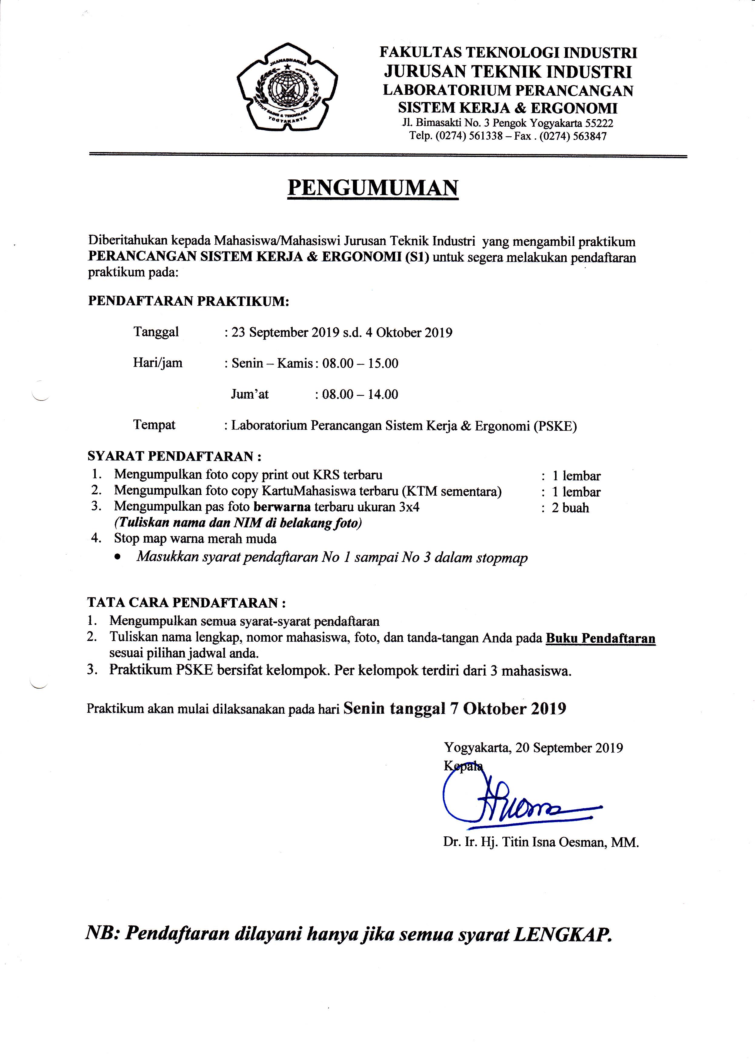 Pendaftaran Praktikum ergonomi Sem Ganjil 2019-2020