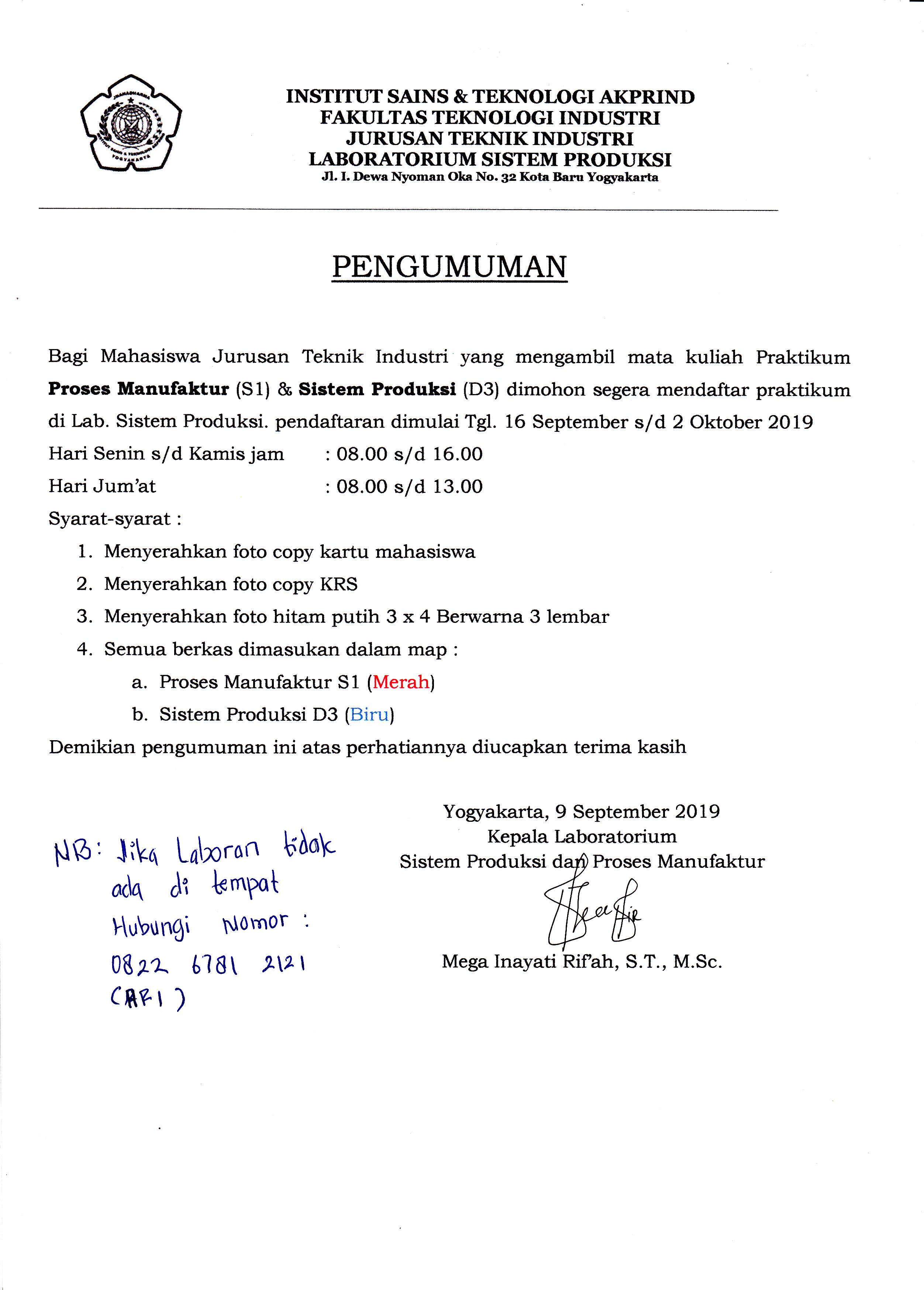 Pendaftaran Praktikum Sistem Produksi dan Manufaktur Sem Ganjil TA 2019/2020