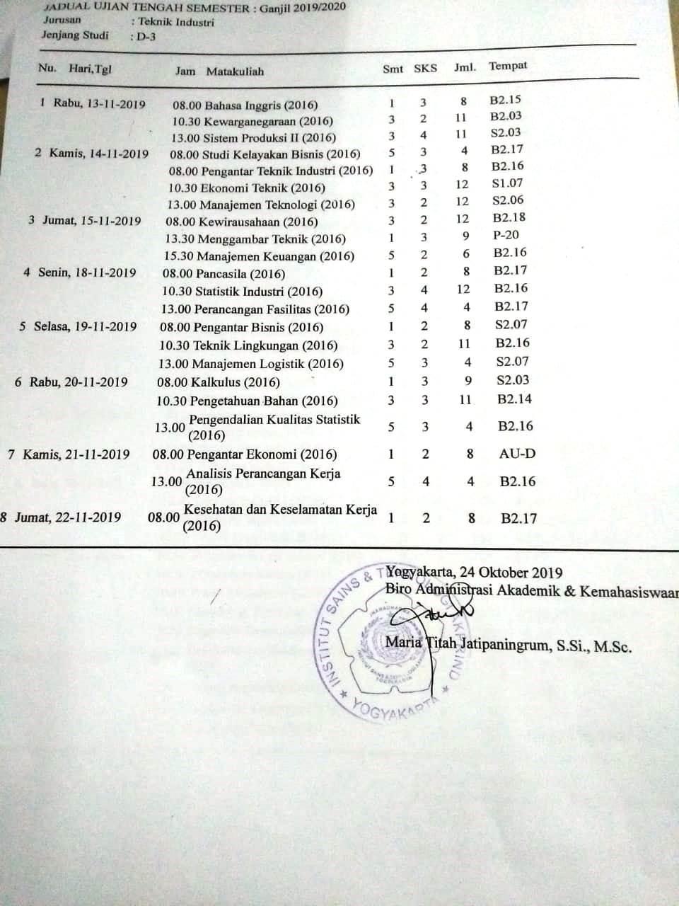Jadwal UTS D3 Semester Ganjil TA 2019/2020