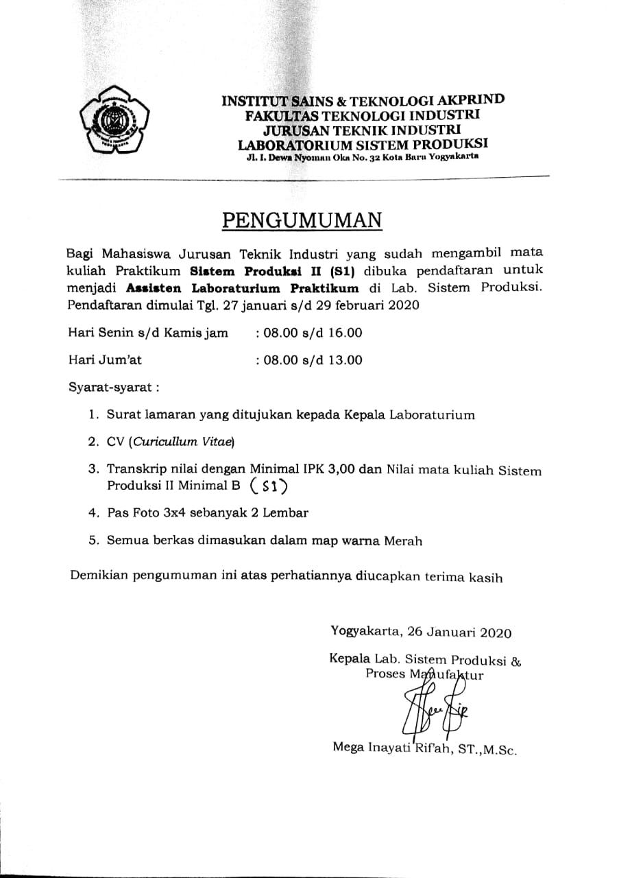 Pendaftaran Asisten Lab SISPRO II Sem. Genap TA 2019/2020