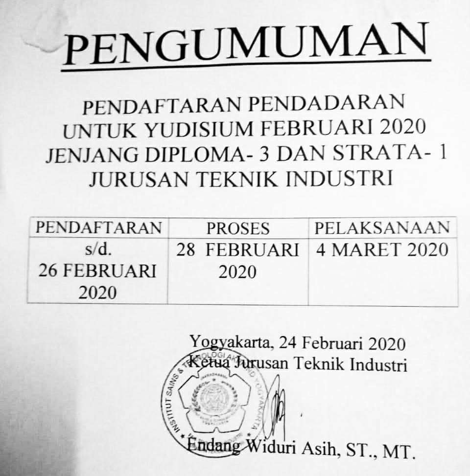 Pengumuman Pendaftaran Pendadaran Untuk Yudisium Februari 2020