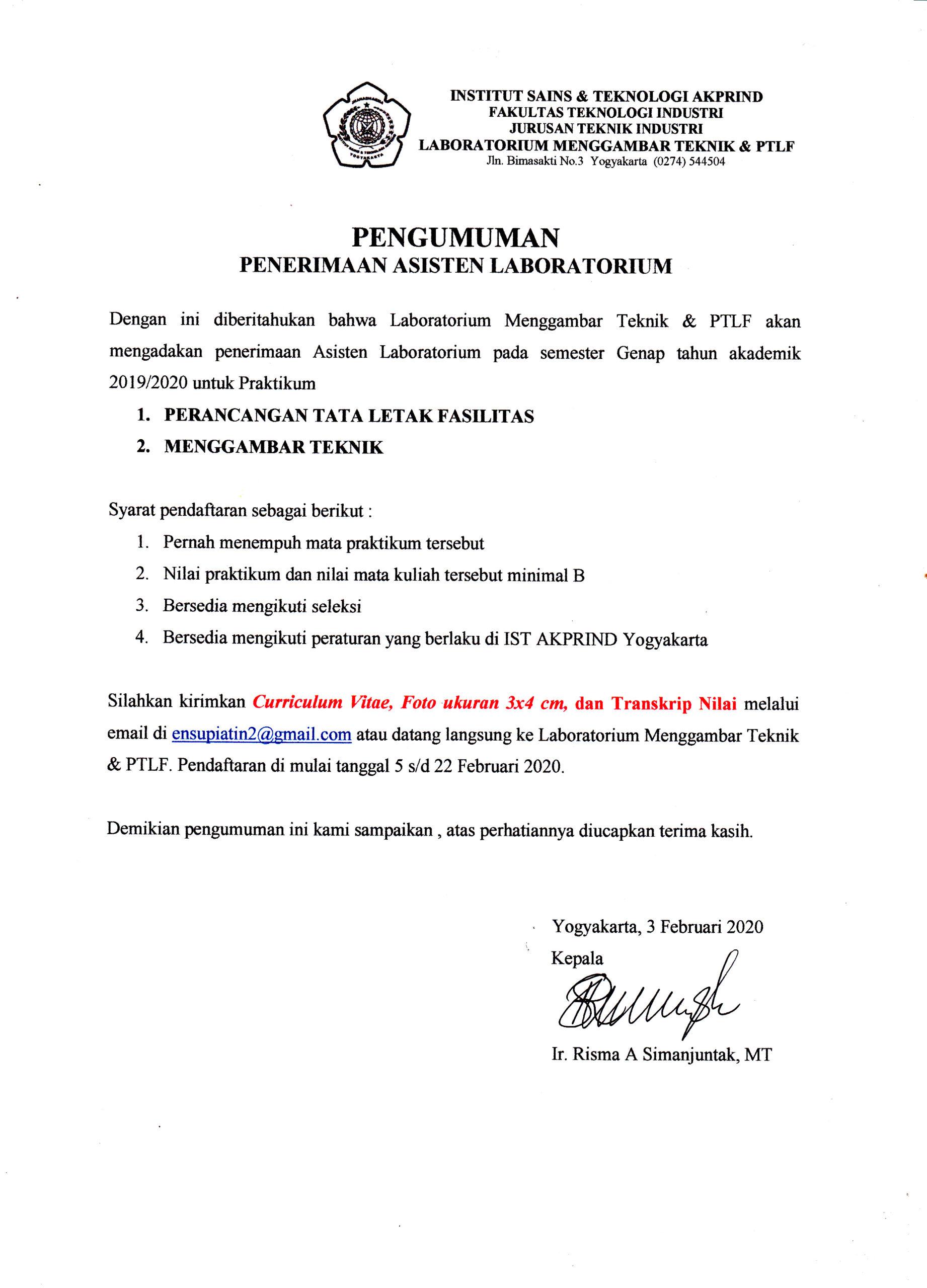 Penerimaan Aslab Menggambar Teknik & PTLF Sem Genap 2019/2020