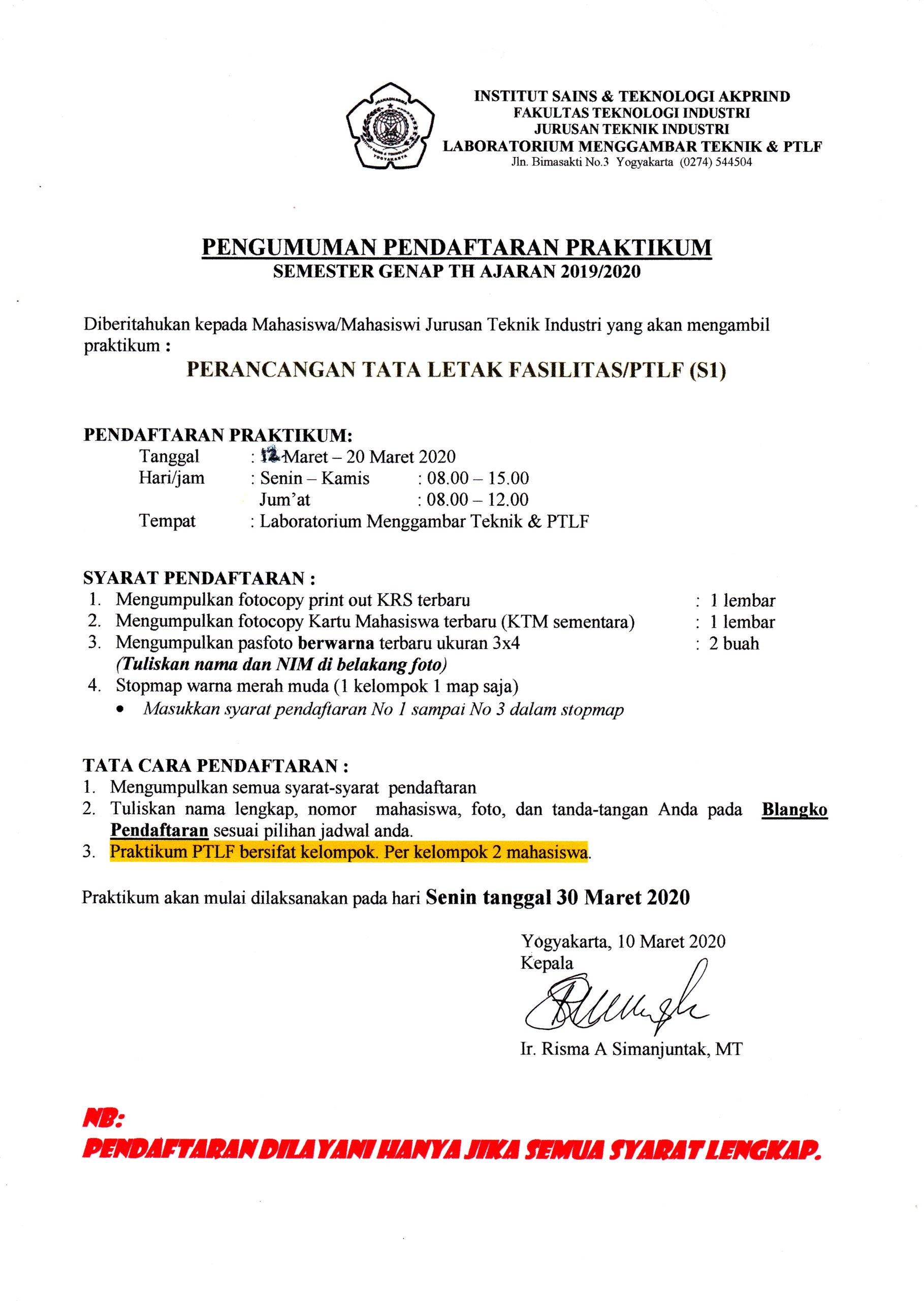 Pendaftaran Praktikum PTLF S1 Sem. Genap TA 2019/2020