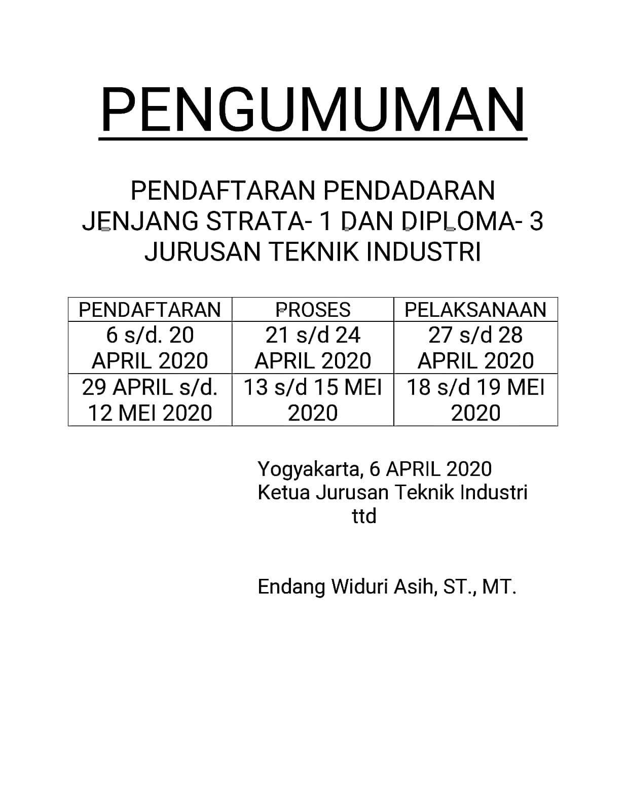 Pendaftaran Pendadaran S-1 dan D-3 Jurusan Teknik Industri