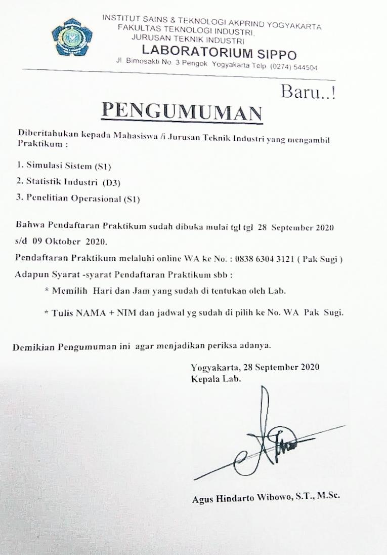 Pendaftaran Praktikum di Laboratorium SIPPO