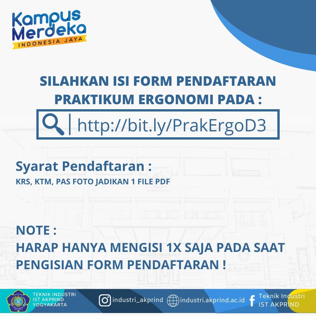 Pendaftaran Praktikum Ergonomi Semester Genap 2020/2021