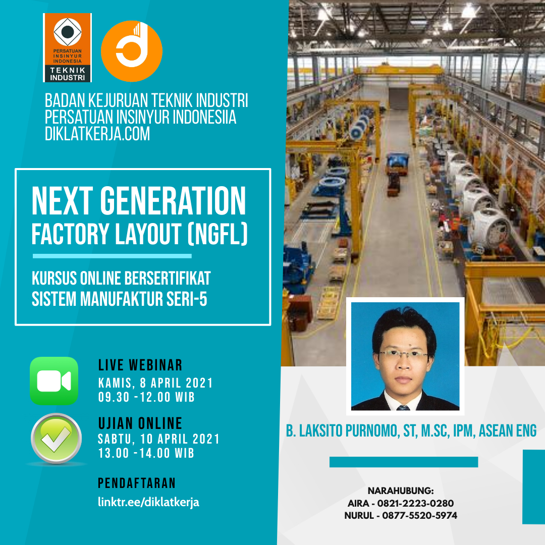 Webinar Sistem Manufaktur Seri-5 kerjasama Badan Kejuruan Teknik Industri Persatuan Insinyur Indonesia (BKTI-PII) dan diklatkerja.com