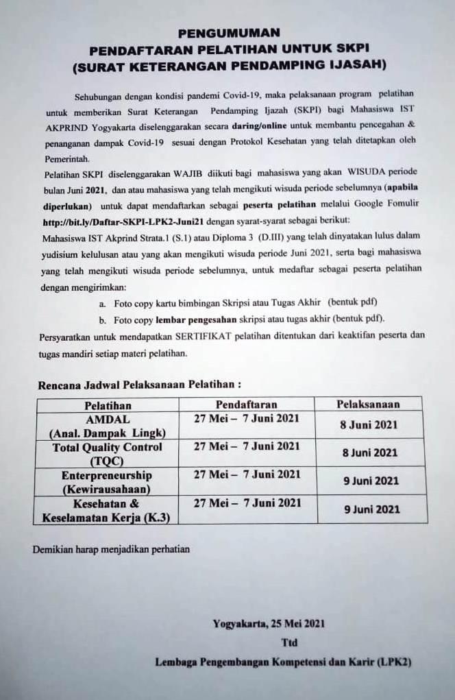 Pendaftaran Pelatihan SKPI Untuk Wisuda Periode Juni 2021
