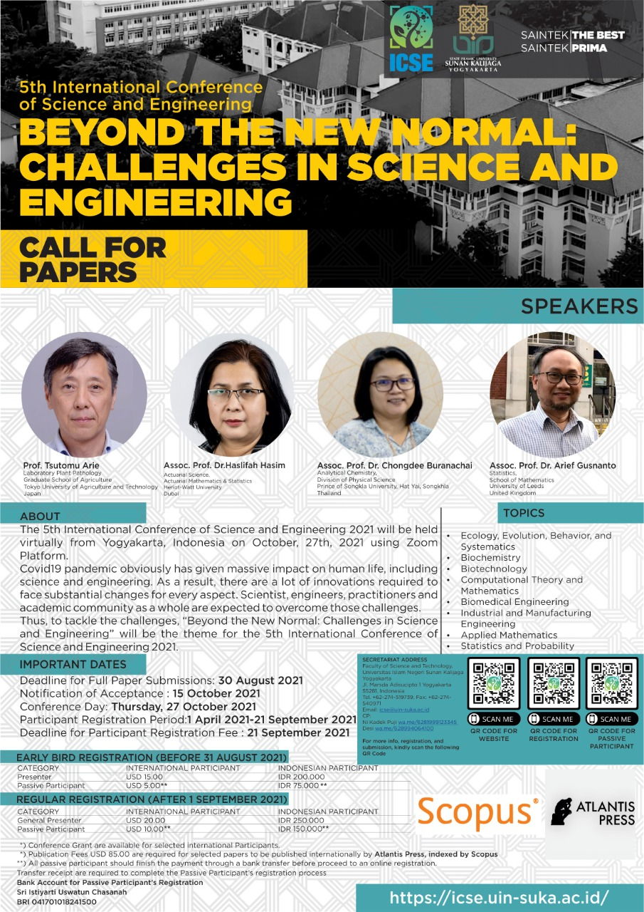 CALL FOR PAPERS 5th International Conference Science and Engineering (ICSE)